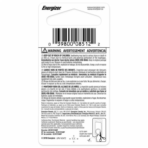 Energizer® 3-Volt 1216 Lithium Coin Battery Perspective: back