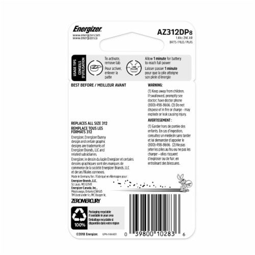 Energizer® EZ Turn & Lock 312 Hearing Aid Batteries Perspective: back