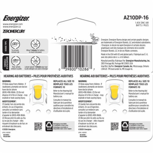 Energizer® Size 10 EZ Turn and Lock Hearing Aid Batteries Perspective: back