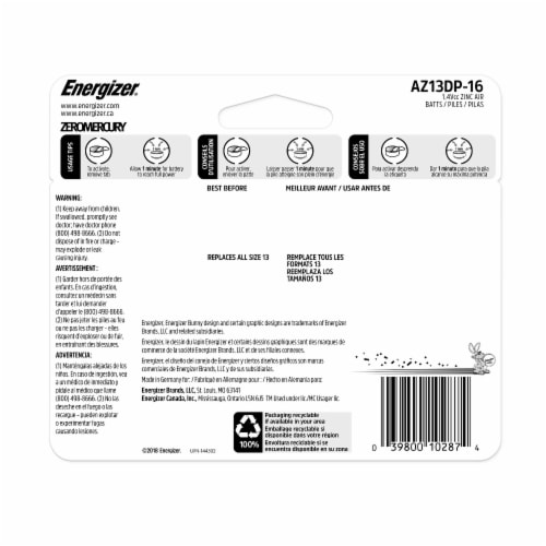Energizer® EZ Turn and Lock  Size 13 Hearing Aid Batteries Perspective: back