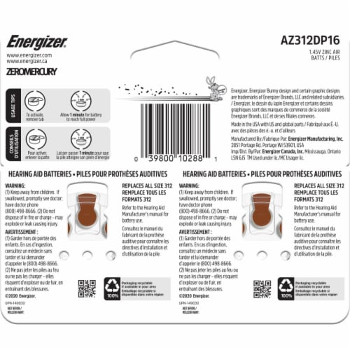 Energizer® EZ Turn and Lock Size 312 Hearing Aid Batteries Perspective: back
