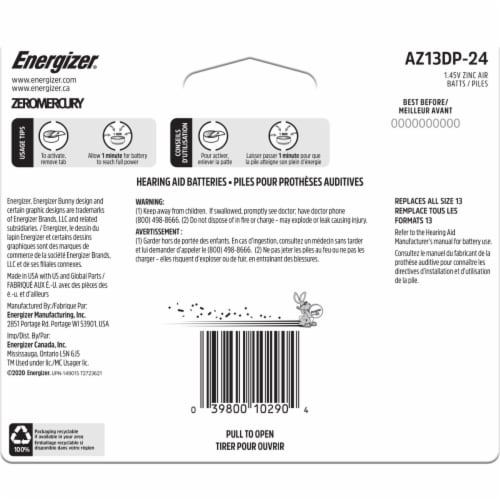 Energizer® Size 13 EZ Turn and Lock Hearing Aid Batteries Perspective: back