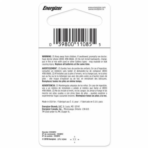 Energizer® 392 Silver Oxide Battery Perspective: back
