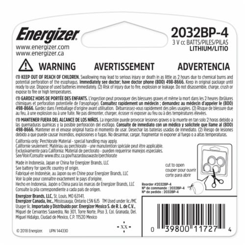 Energizer 2032 3-Volt Lithium Coin Batteries Perspective: back