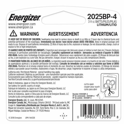 Energizer® 2025 Lithium Mini Batteries Perspective: back