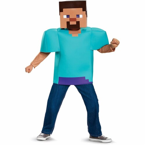 Disguise Steve Classic Minecraft Costume, Multicolor, Small (4-6) Perspective: back