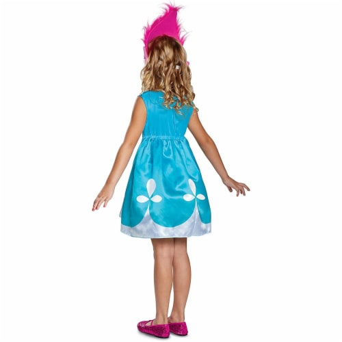 Disguise Poppy Classic W/Headband Trolls Costume, Blue, Medium (7-8) Perspective: back