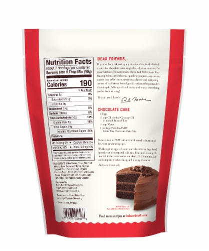 Bob's Red Mill Grain Free Chocolate Cake Mix Perspective: back