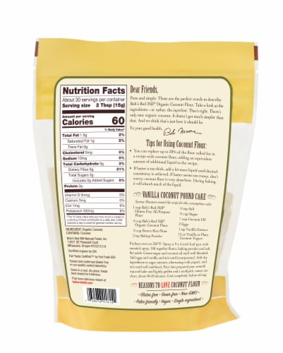 Bob's Red Mill Organic Coconut Flour Perspective: back