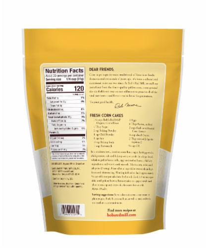 Bob's Red Mill® Organic Whole Grain Stone Ground Corn Flour Perspective: back