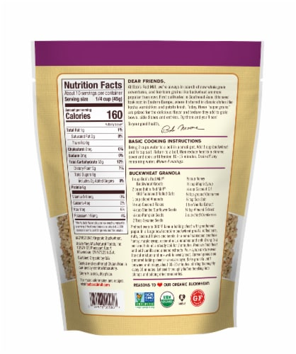 Bob's Red Mill Organic Whole Grain Buckwheat Perspective: back
