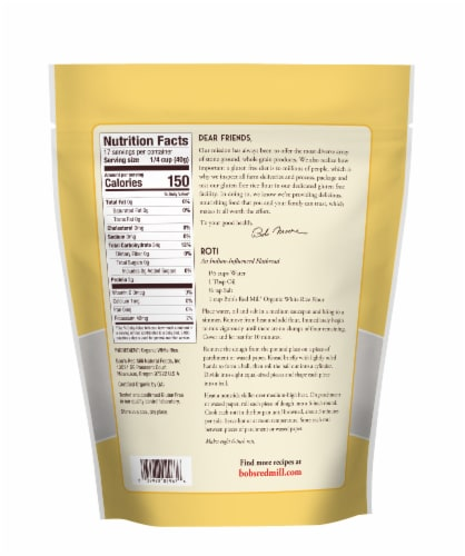 Bob's Red Mill Organic White Rice Flour Perspective: back