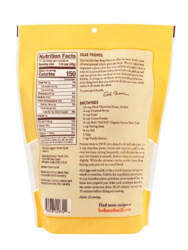 Bob's Red Mill Organic Brown Rice Flour Perspective: back
