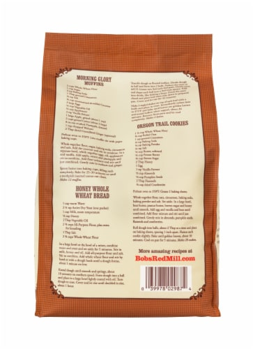 Bob's Red Mill Organic 100% Stone Ground Whole Wheat Flour Perspective: back