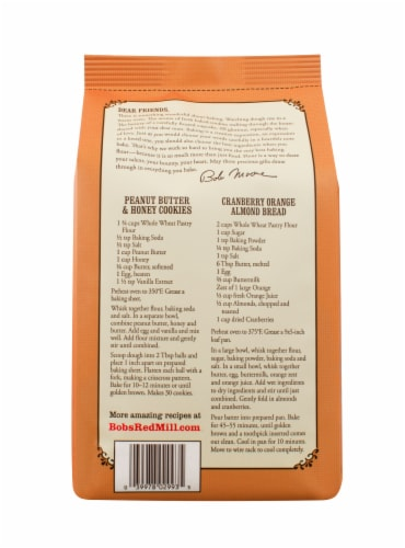 Bob's Red Mill Organic Whole Wheat Pastry Flour Perspective: back