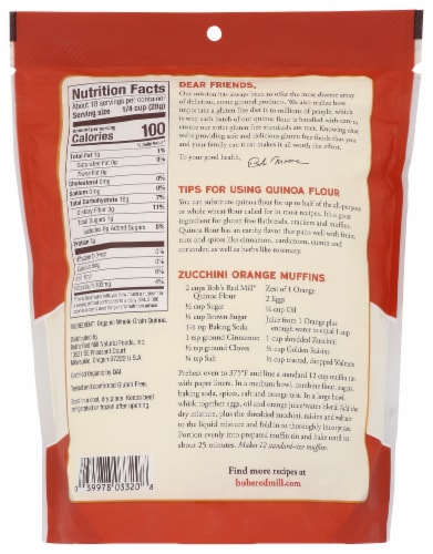 Bob's Red Mill Organic Whole Grain Quinoa Flour Perspective: back