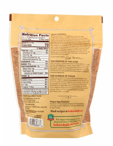 Bob's Red Mill Organic Whole Ground Flaxseed Meal Perspective: back