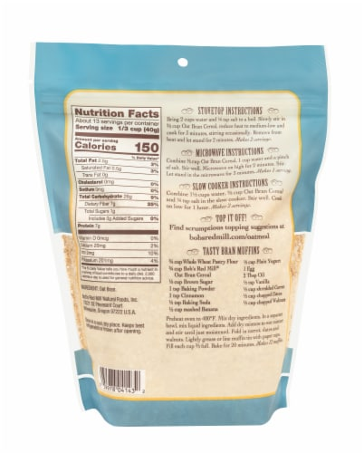 Bob's Red Mill High Fiber Hot Cereal Oat Bran Perspective: back