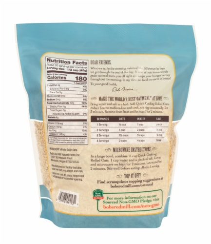 Bob's Red Mill Quick Cooking Whole Grain Rolled Oats Perspective: back