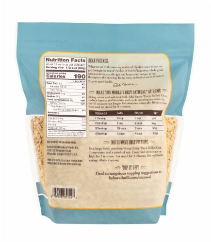Bob's Red Mill Extra Thick Whole Grain Rolled Oats Perspective: back