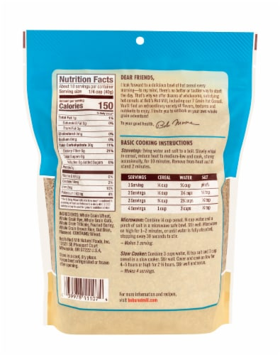 Bob's Red Mill 7 Grain Cereal Perspective: back