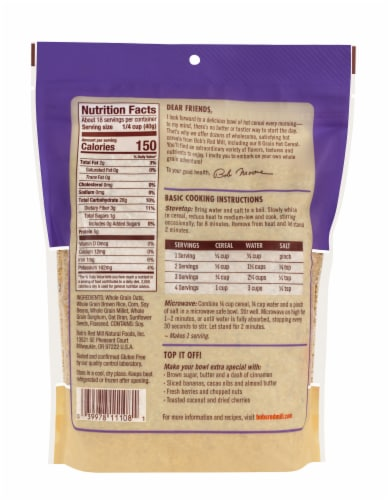 Bob's Red Mill Gluten Free 8 Grain Hot Cereal Perspective: back