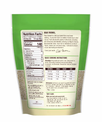 Bob's Red Mill Organic Creamy Buckwheat Cereal Perspective: back