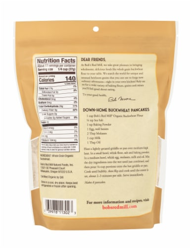 Bob's Red Mill Organic Buckwheat Flour Perspective: back