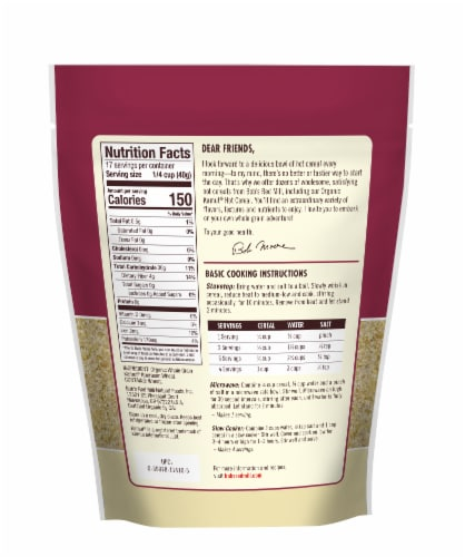 Bob's Red Mill Organic Kamut Hot Cereal Perspective: back