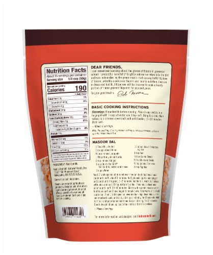 Bob's Red Mill Red Lentils Perspective: back