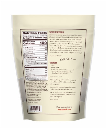 Bob's Red Mill Gluten Free Chocolate Chip Cookie Mix Perspective: back