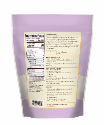 Bob's Red Mill Nonfat Dry Milk Powder Perspective: back