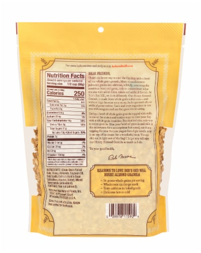 Bob's Red Mill Honey Almond Granola Perspective: back