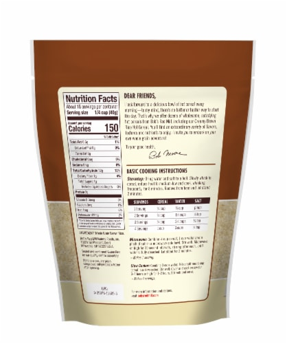 Bob's Red Mill Creamy Brown Rice Farina Hot Cereal Perspective: back