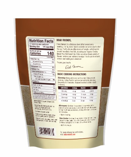 Bob's Red Mill Organic Creamy Brown Rice Hot Cereal Perspective: back