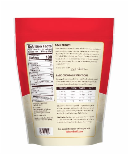 Bob's Red Mill Organic Creamy Wheat Hot Cereal Perspective: back