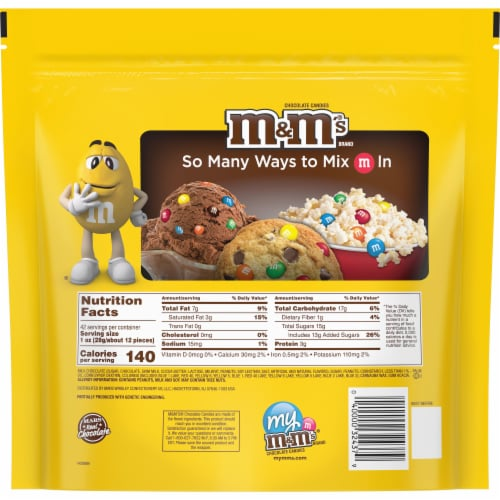 M&M's Peanut Milk Chocolate Candy Party Size Perspective: back
