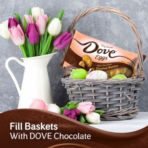 DOVE Easter Candy Milk Chocolate Peanut Butter Egg-Shaped Candy Bag Perspective: back