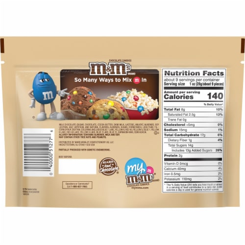 M&M'S Almond Chocolate Candy Sharing Size Bag Perspective: back