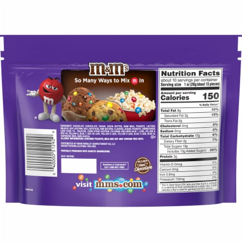 M&M's Dark Chocolate Peanut Candies Sharing Size Bag Perspective: back