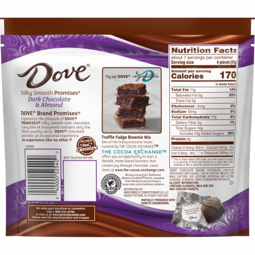 DOVE PROMISES Dark Chocolate Almond Candy Perspective: back