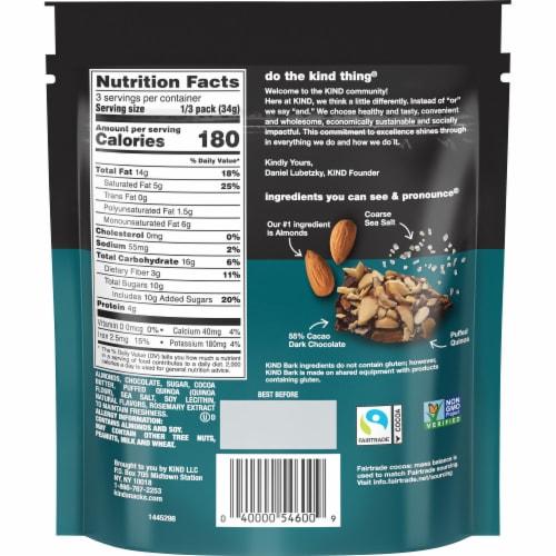 KIND Dark Chocolate Almond & Sea Salt Bark Perspective: back
