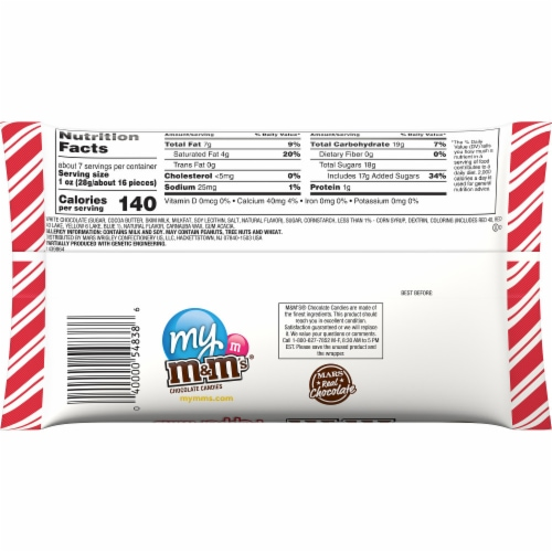M&M'S Holiday White Peppermint Chocolate Christmas Candy Perspective: back