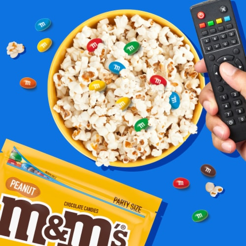 M&M's Peanut Chocolate Candy Party Size Bag Perspective: back