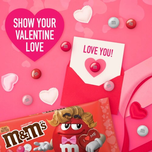 M&M'S Valentines Day Peanut Butter Chocolate Valentine Candy Bag Perspective: back