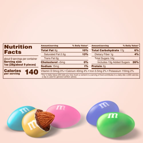M&M'S Almond Chocolate Egg Shaped Easter Candy Bag Perspective: back
