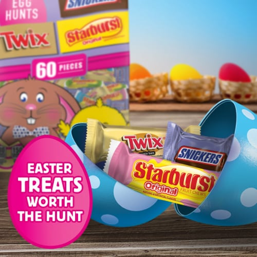 Snickers Twix & Starburst Assorted Chocolate & Fruity Easter Candy Variety Mix Bag Perspective: back