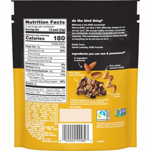 KIND Dark Chocolate Almond & Salted Caramel Bark Perspective: back