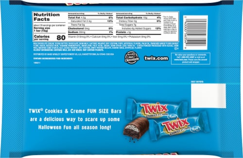 Twix® Cookies & Creme Fun Size Chocolate Halloween Candy Bars Perspective: back