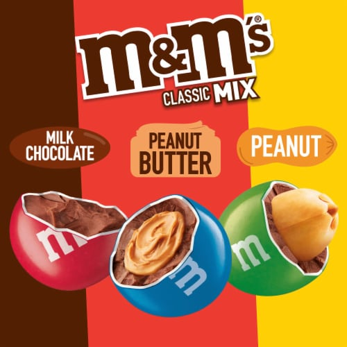 M&M's Classic Mix Chocolate Candy Sharing Size Bag Perspective: back